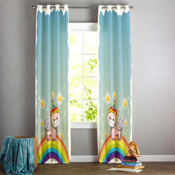 چاپ پرده اتاق خواب کودکان | پرده طرح اسب تک شاخ | انواع پرده اتاق خواب کودکان